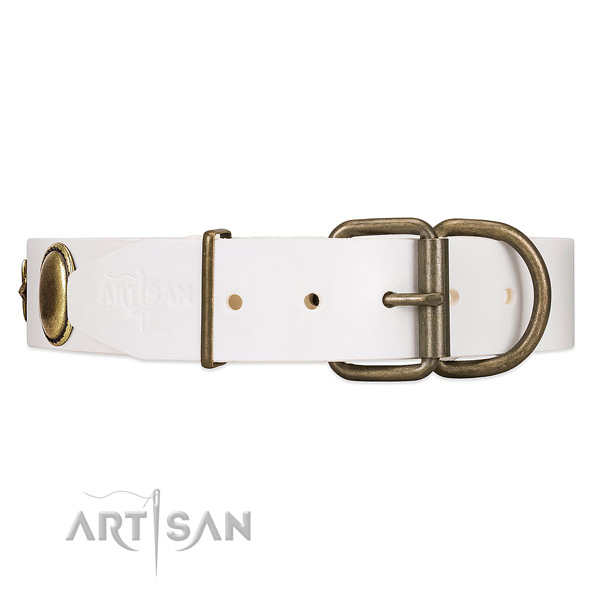 Convenient leather dog collar with solid rust-resistnanthardware