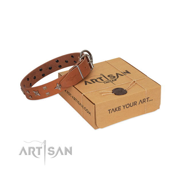 Tan leather dog collar of soft and tender leather in tan