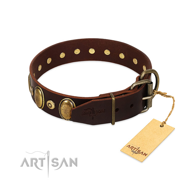 Adjustable Leather Dog Collar Adorned with Bronze-like Plated