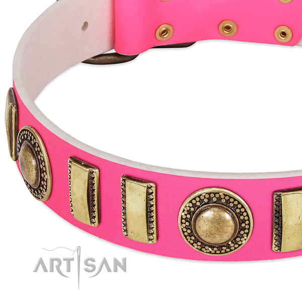 FDT Artisan pink leather dog collar with conchos and