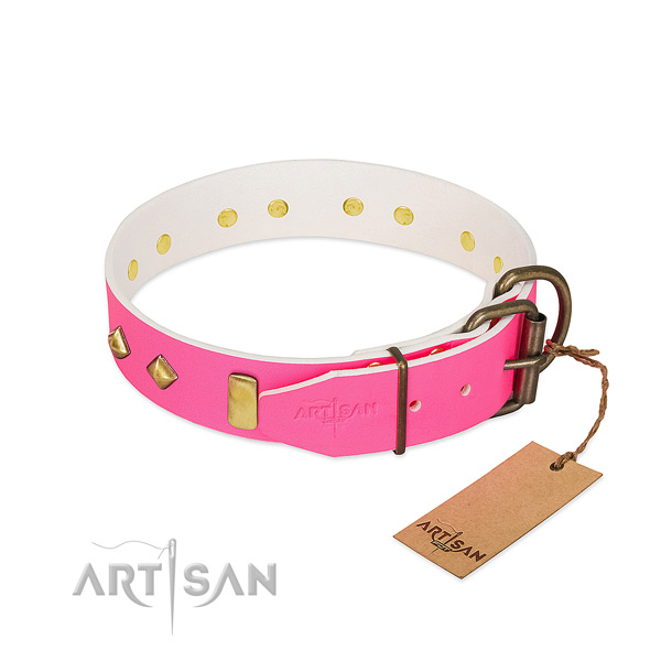 Walking pink leather dog collar with firm hardware
