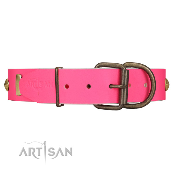 Reliable use leather dog collar with strong hardware