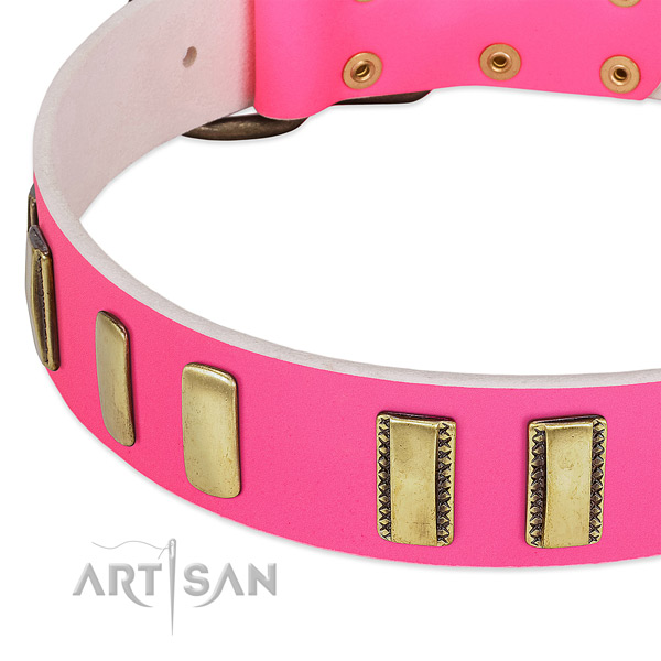 Comfy pink leather dog collar with rust resistant plates
