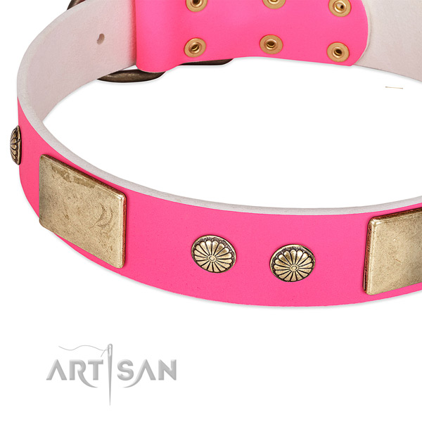 Uniquely decorated pink leather dog collar with plates and studs