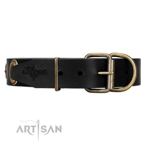 Well-fitting leather dog collar with old bronze-like hardware