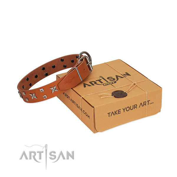 Catchy style leather dog collar of soft and tender leather