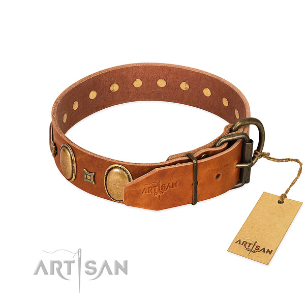 Super soft leather dog collar with strong hardware