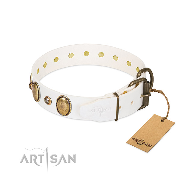 Soft white Artisan dog collar for comfortable wear