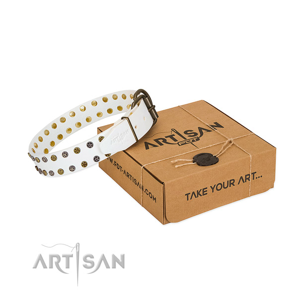 Handmade white leather dog collar with elegant