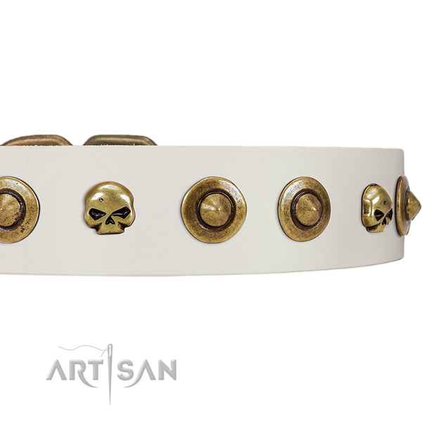 FDT Artisan white leather dog collar with decorative
