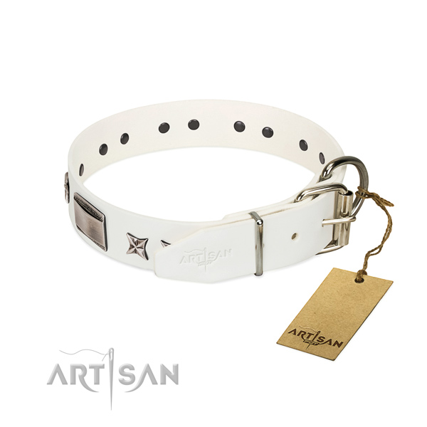 Easy adjustable leather dog collar fits perfectly