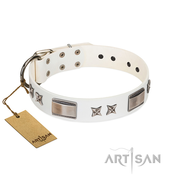 Comfortable white leather dog collar for walking