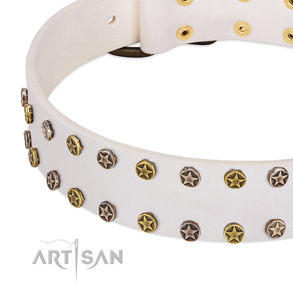 FDT Artisan white leather dog collar with engraved studs