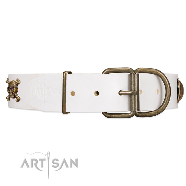 Durable white leather dog collar with old bronze-like hardware