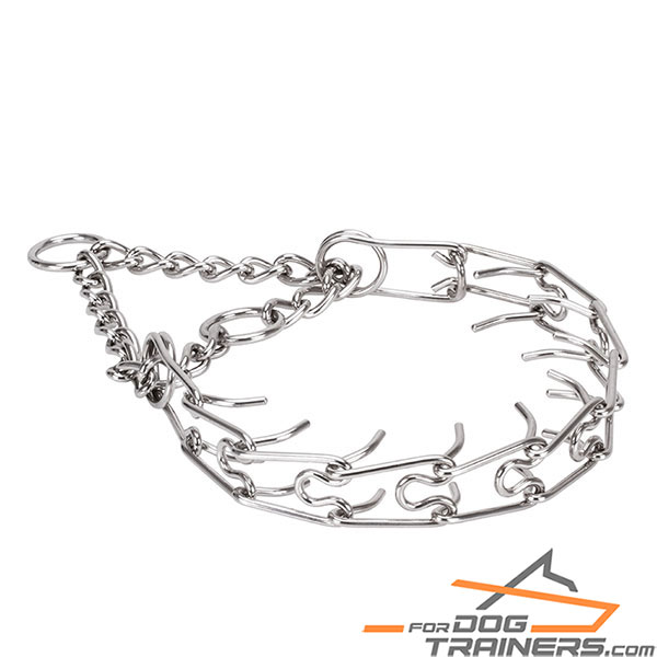 Stainless steel dog pinch collar with removable prongs