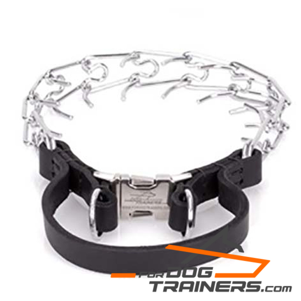 Chrome plated dog pinch collar new design