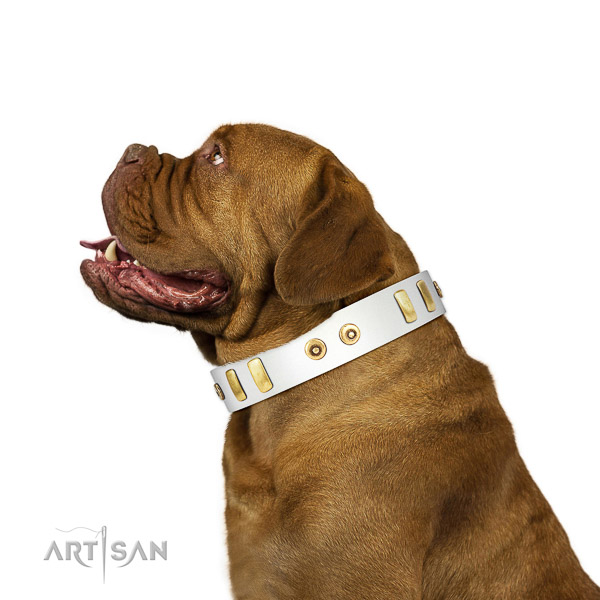 White Genuine Leather Collar for Dogue de Bordeaux Comfy Walking