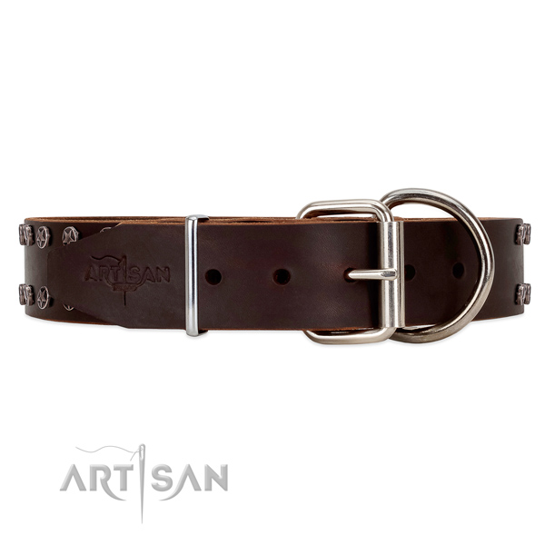 Adorned with Stars Brown Leather Dog Collar with Firm Buckle for Easy Adjusting