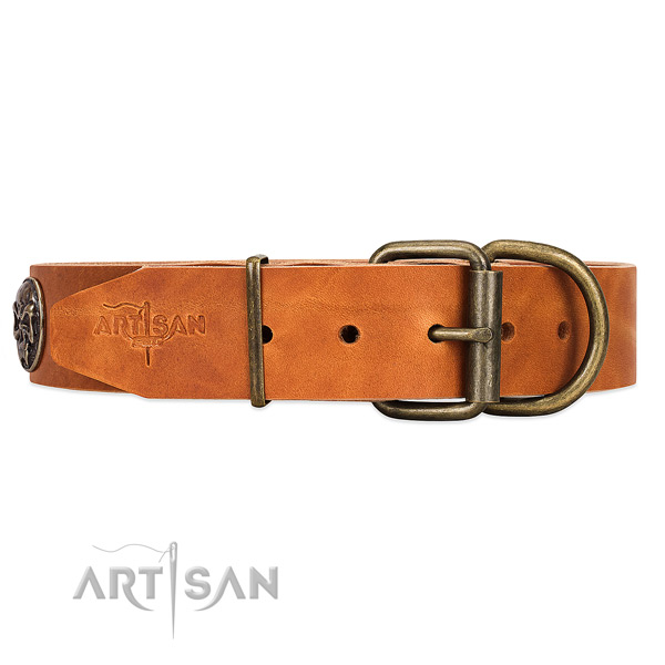 Easy Adjustable Leather Dog Collar with Buckle and Massive D-ring