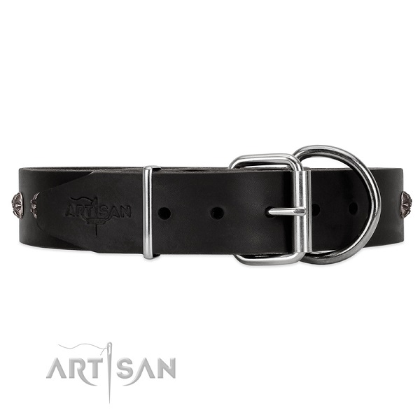 Black leather dog collar with silver-like studs with flowers