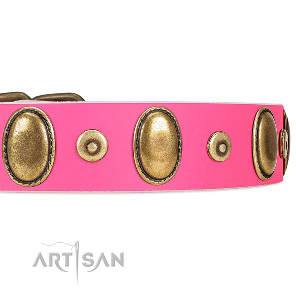Bright Pink Leather Dog Collar with Vintage-looking