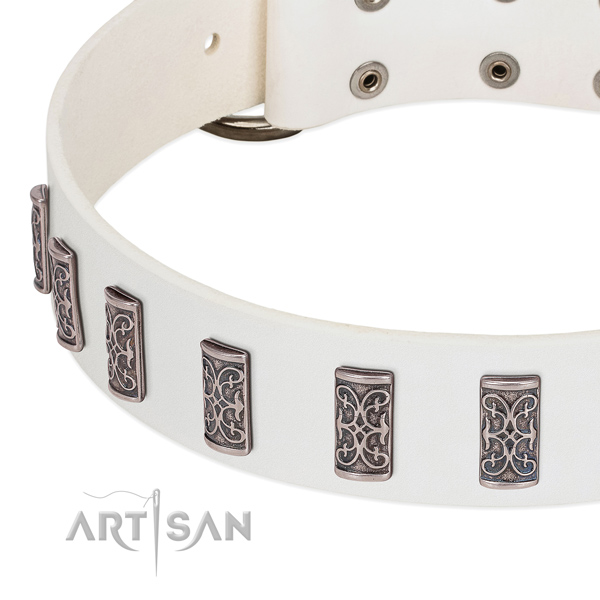 White leather dog collar handmade to impress canines around