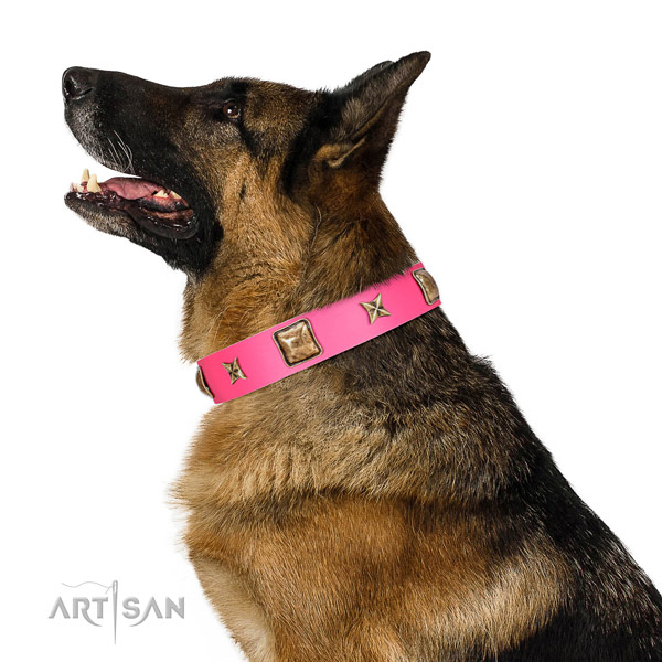 Decorated with Antique Plates and Stars Leather Collar for German Shepherd