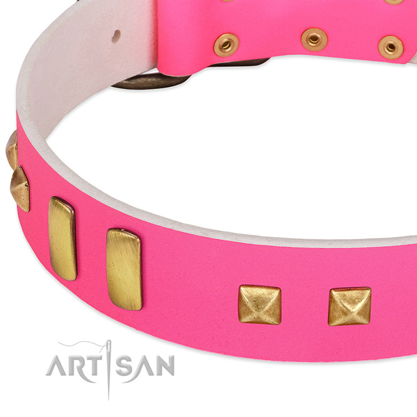 Extraordinary Pink Dog Collar with Old-bronze Plated