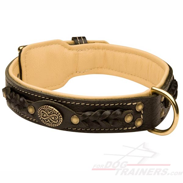 Strong and Soft Leather Braided Dog Collar