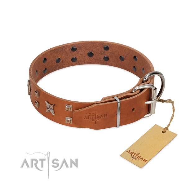 Non-rubbing leather dog collar with buckle for easy adjustment