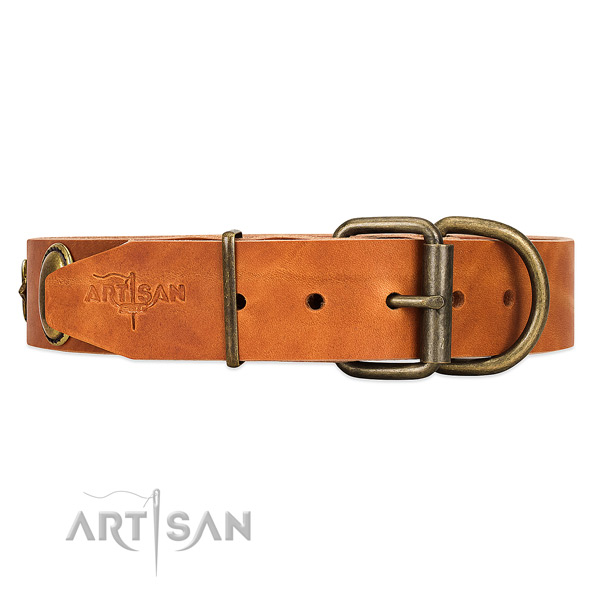 Soft leather dog collar with non-corrosive buckle and