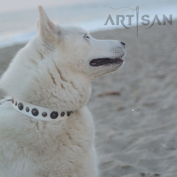 White leather FDT Artisan Husky collar for Aika