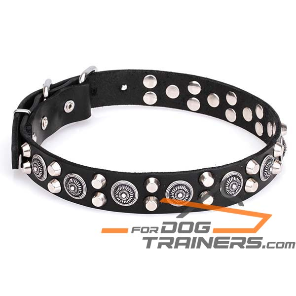 Leather Canine Collar with Decoration