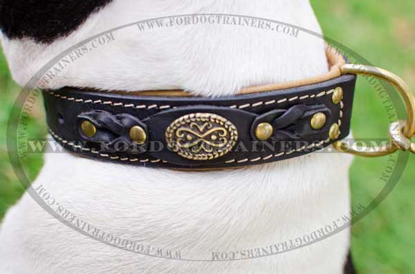 Nappa Braided Leather Strap of Dog Collar