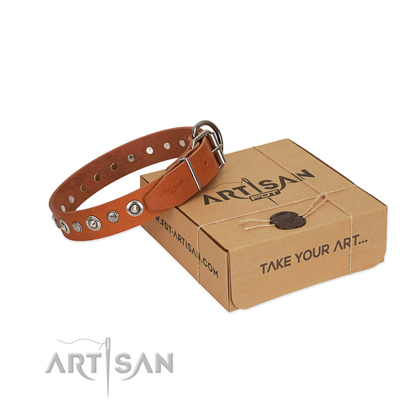 Tan Leather Dog Collar with Polished Edges