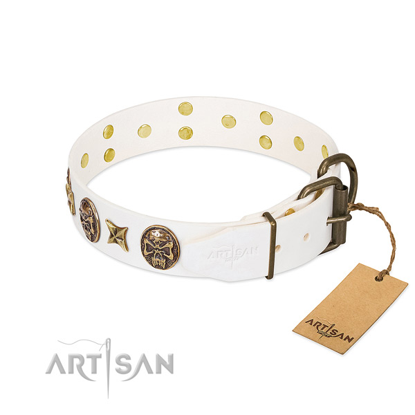 Top Notch Dog Collar with Medallions and Stars