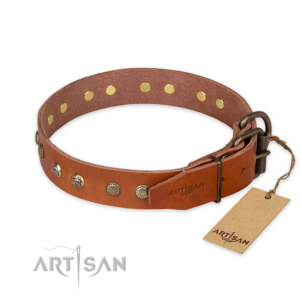 Studded Leather Dog Collar with Engraved Flowers