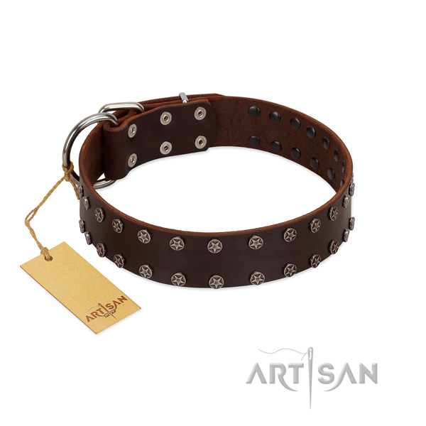 Original Design Leather Dog Collar with Shining Stars