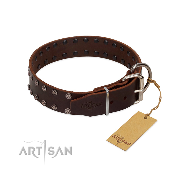 Brown Leather Dog Collar with Durable Buckle and D-Ring