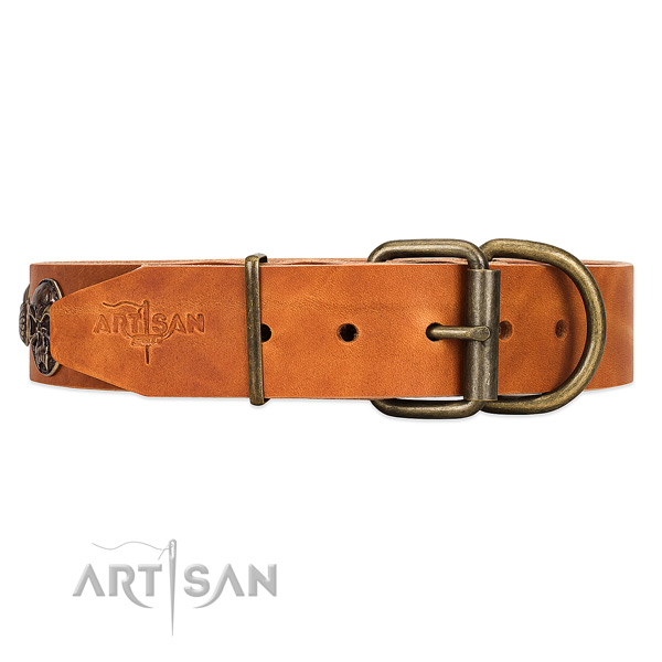 Easy to Adjust Black Leather Dog Collar with Sturdy Buckle