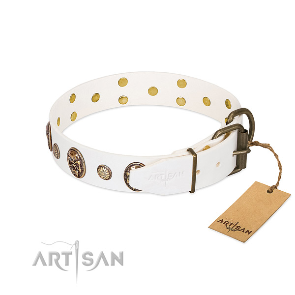 Reliable White Leather Dog Collar with Strong Hardware