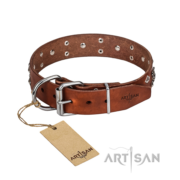 Tan leather dog collar for safe handling