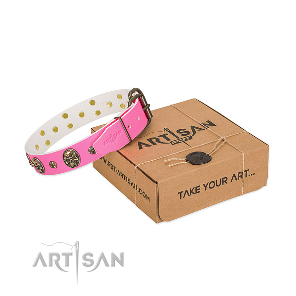 Luxurious Pink Leather Dog Collar Adorned with Gold-like Studs