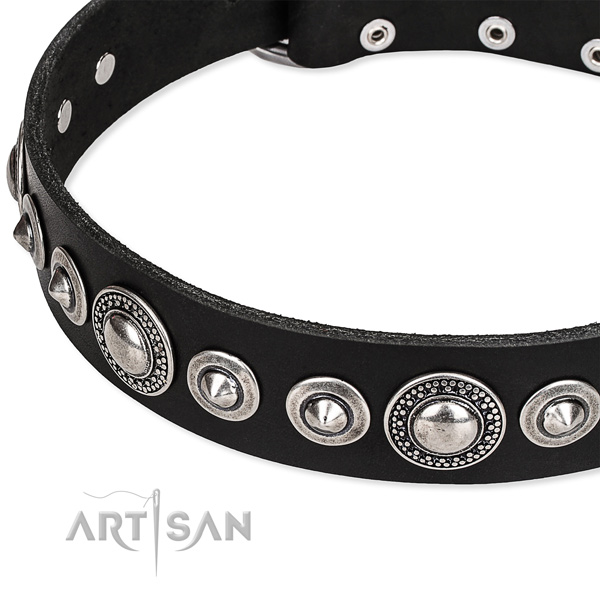 Dog-friendly black leather dog collar