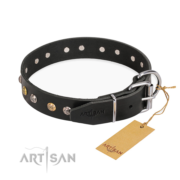 Strong and sturdy black leather dog collar