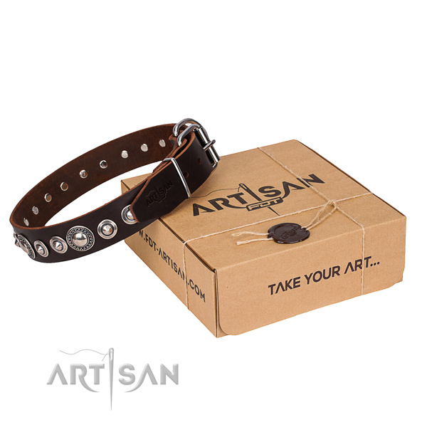 Brown dog collar made of genuine leather