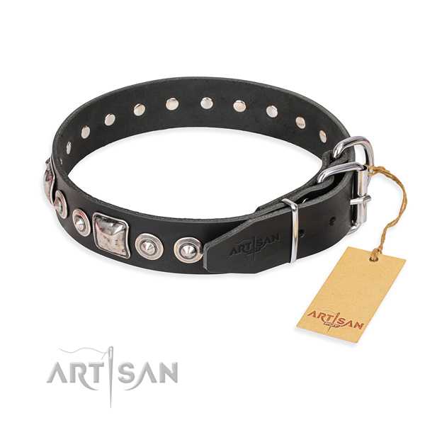 Black leather dog collar with strong hardware