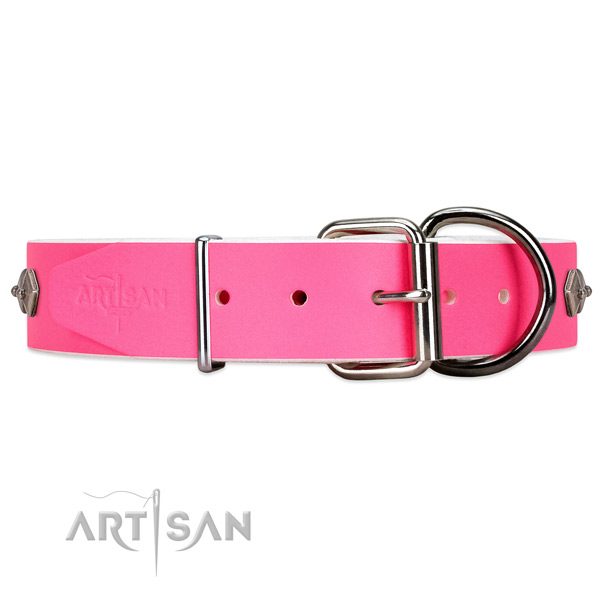 Handmade Pink Leather Dog Collar with Rust-proof Hardware