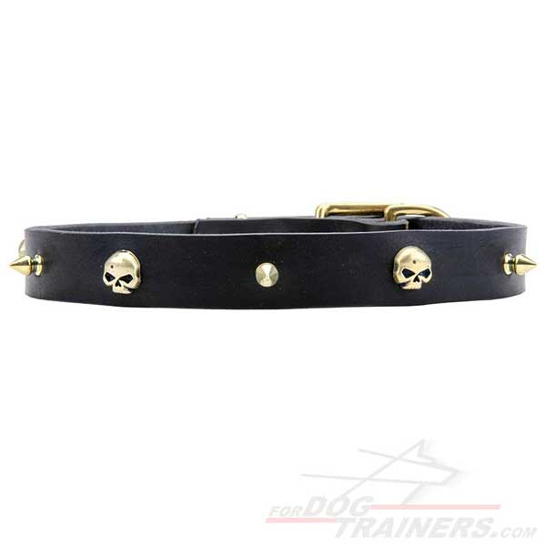Exclusive decorated spikes and skulls collar