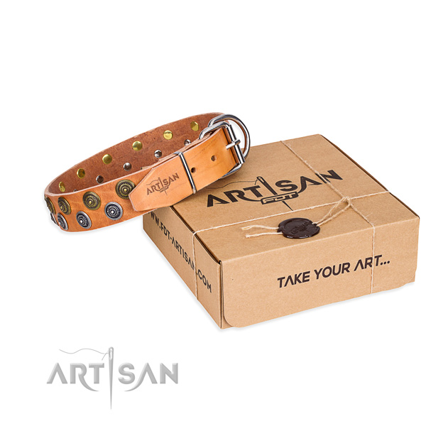 Decorated with fashion studs tan leather dog collar